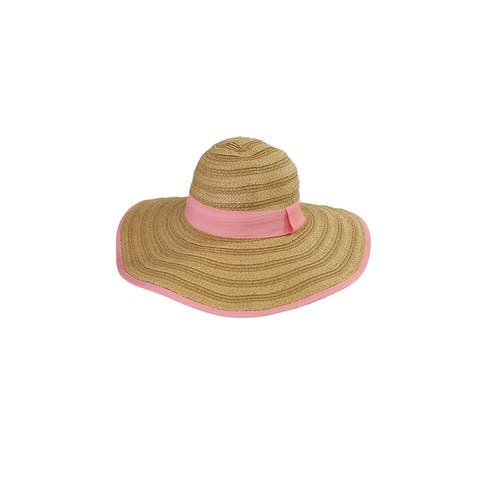 Collection Xiix Tan Pink Mixed Braid Straw Floppy Hat OS