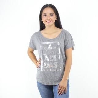 Adidas Originals Trefoil Women's Grey T-Shirt Metallic Silver Graphic Logo