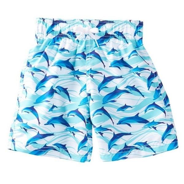 Azul Baby Boys Blue White Dolphin Print Drawstring Tie Swim Shorts - 12 months
