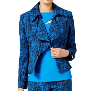 Anne Klein NEW Blue Women's Size 0 Jacquard Short Trench Jacket