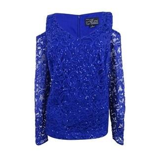 Alex Evenings Women's Plus Sequin Lace Top - ROYAL