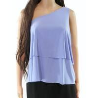 Halston Lavender Women's Medium Tiered One Shoulder Blouse