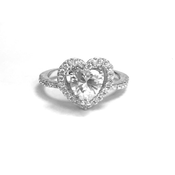 925 Sterling Silver Heart Ring with Cubic Zirconia and Center Stone