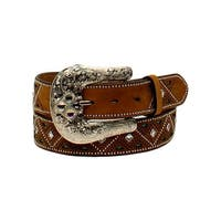 Nocona Western Belt Womens Nailheads Rhinestones Pierce Brown