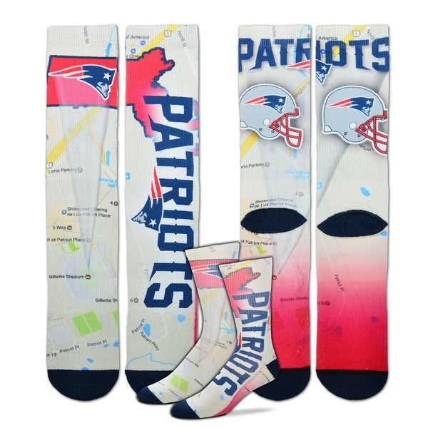 New England Patriots Roadmap Sublimated Socks, Large (10-13)