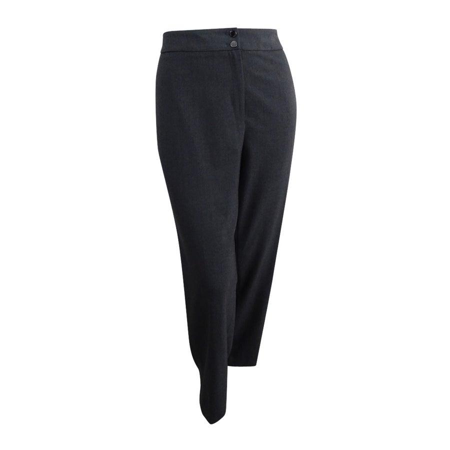 Calvin Klein Women\'s Plus Size Wide-Leg Dress Pants - Charcoal