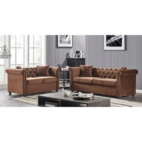 Blaich 2-piece Velvet Living Room Set