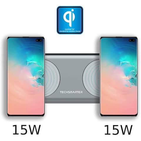 Techsmarter 30W Fast Dual Wireless Charger Pad, Qi Certified. For iPhone 8, X, XR, XS, 11 Samsung S7, S8, S9, S10, S20 Note 9,10
