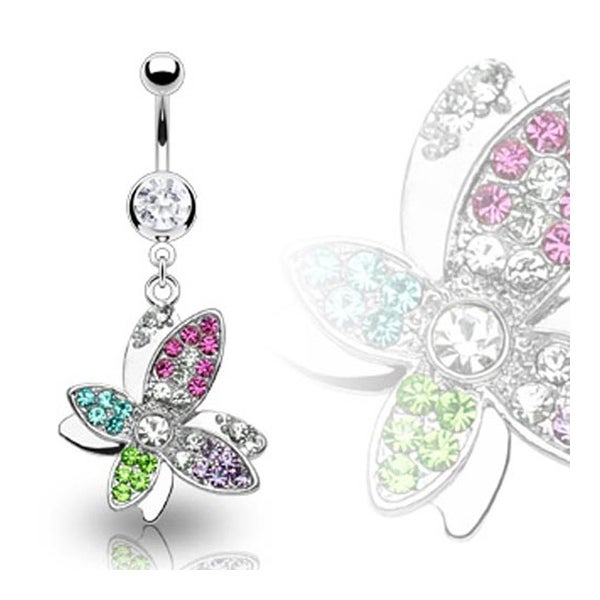 Surgical Steel 8mm Gem Navel Belly Button Ring with Multi Colored Gem Butterfly Dangle (Sold Ind.)