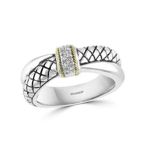 Effy Jewelry Diamond Crossover Band in 925 Sterling Silver with 18K Yellow Gold Plating, 0.05 TWC