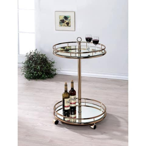 Furniture of America Oler Contemporary Gold Metal 2-shelf Bar Cart