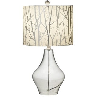 Set of 2 Rustic Lodge Glass Table Lamps with Metallic Tree Branch Fabric Shades