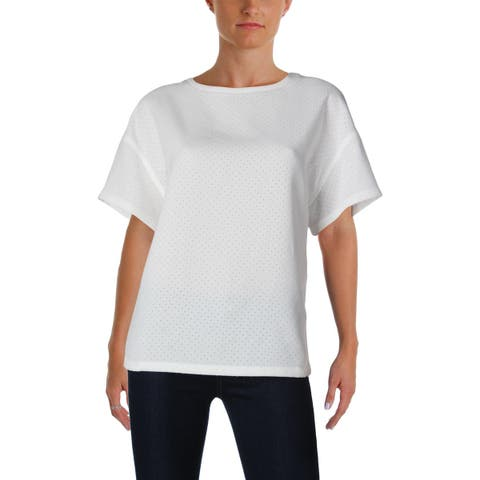 66c7391eed90e Anne Klein Womens Blouse Perforated Short Sleeves