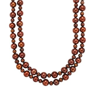 38-Inch 9.5-12 mm Chocolate Freshwater Pearl Necklace with Sterling Silver Clasp