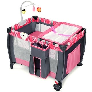 Costway Foldable Travel Baby Playpen Crib Infant Bassinet Bed Mosquito