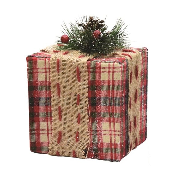 """7.75"""" Square Red Plaid Gift Box with Pine Bow Table Top Christmas Accent"""
