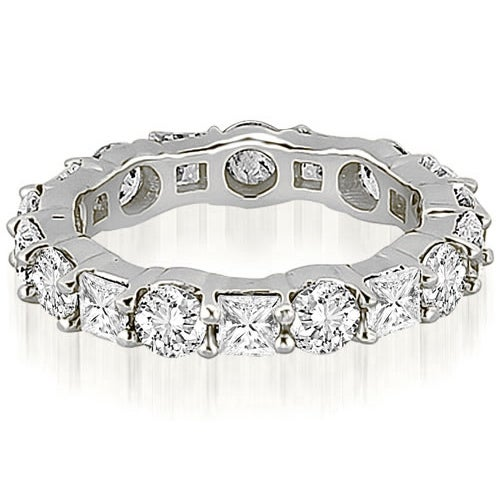 3.15 cttw. 14K White Gold Round and Princess Diamond Eternity Ring