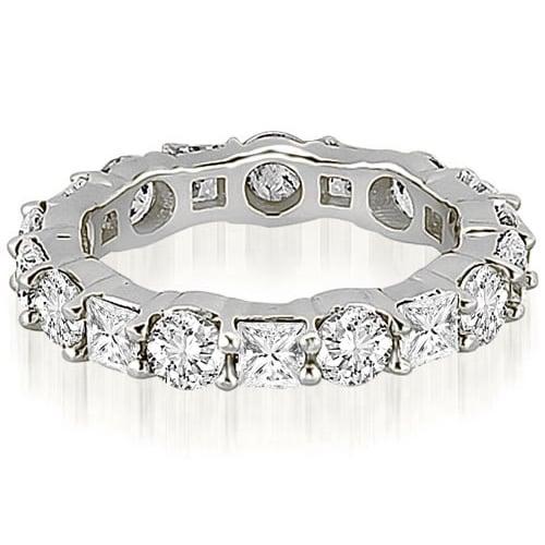 3.15 cttw. 14K White Gold Round and Princess Diamond Eternity Ring