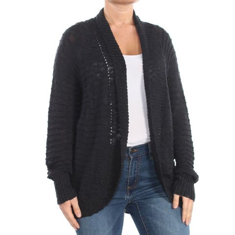 Roxy Women's Black Size XL Open Front Cable-Knit Cardigan Sweater