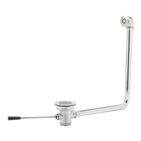 "T and S Brass B-3970-01 3-1/2"" Waste Drain Valve with 2"" Overflow, Lever Handle and 2"" NPT Male x 1-1/2"" NPT Male Outlet"