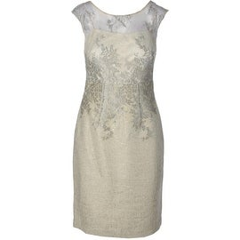 Kay Unger Womens Metallic Illusion Neck Cocktail Dress