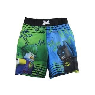 Lego DC Comics Little Boys Blue Green Batman Joker Print Swimwear Shorts