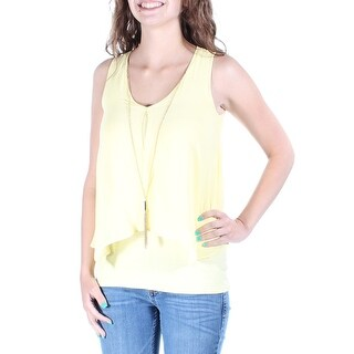Womens Yellow Sleeveless V Neck Casual Top Size 2XS