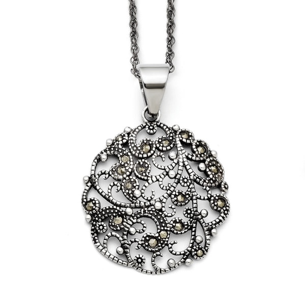 Chisel Stainless Steel Marcasite Textured Circle Necklace (2 mm) - 20 in