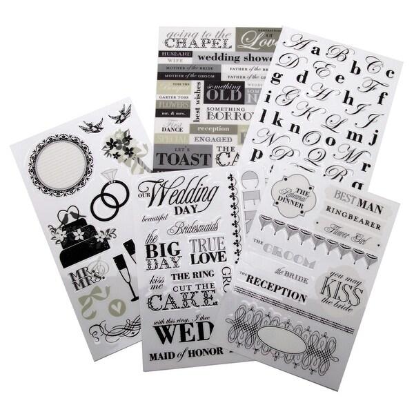 Glitter Stickers Value Pack-Black & White Wedding - Black