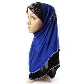 Muslim Scarf Kerchief Hat Macrame Zircon Thin sapphire blue