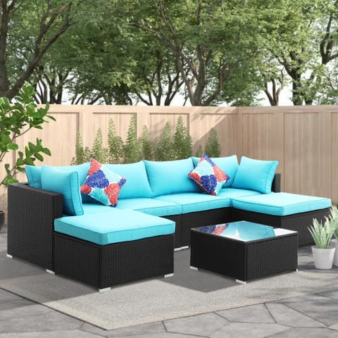 Zenova 7 Pcs Rattan Sofa Sectional Set