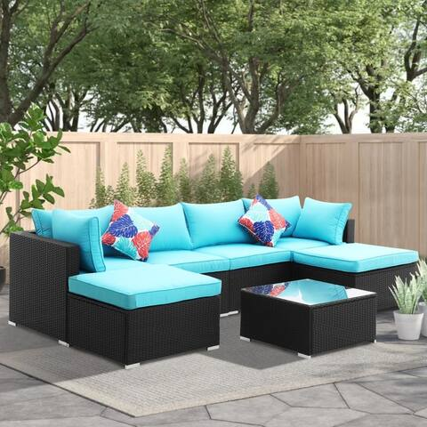 Zenova 7 Pcs Rattan Sofa Sectional Set