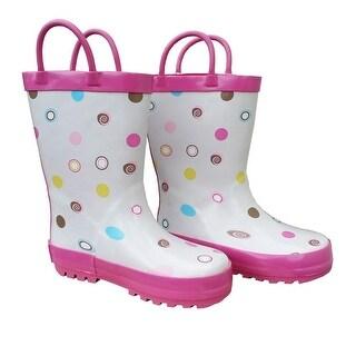 White Polka Dots Deluxe Toddler Girls Rain Boots 5-10