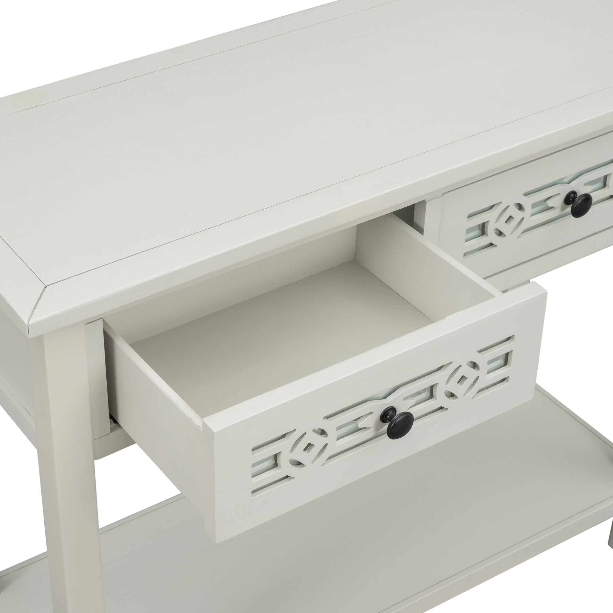 Console Table with Hollow out Decoration Two Top Drawers and Open ...