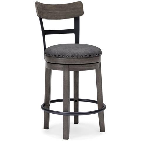 Caitbrook Gray Upholstered Swivel Barstool, Single