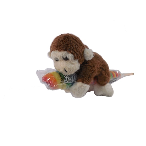 "Wishpets Unisex-Child Monkey on Candy Pop Plush Toy 4"" Brown"