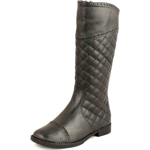 Cole Haan Girls Junior Nancy Quilted Equestrian Riding Fashion Boots - Black