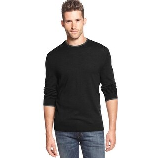 Club Room Merino Wool Blend Crewneck Sweater Deep Black Contrast Trim - M