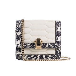 Cavalli Mini White Textured Leather Chained Crossbody Bag - S