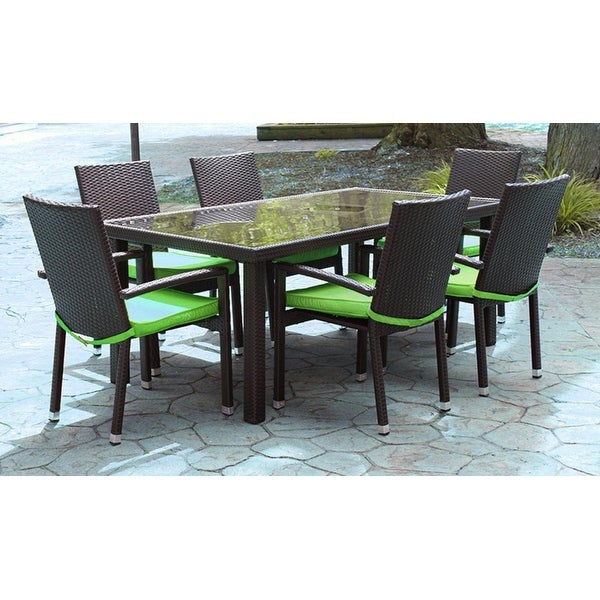 7 Piece Black Resin Wicker Outdoor Furniture Patio Dining Set Lime Green Cushions
