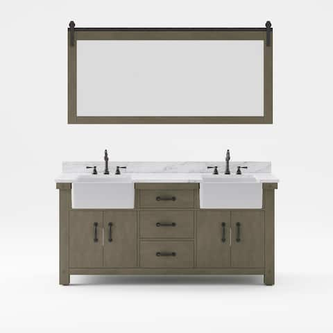 Paisley Double Sink Marble Countertop Vanity with Mirror & Faucet