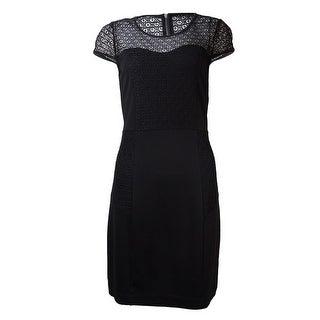 kensie Women's Lace Inset Ponte Sheath Dress - Black