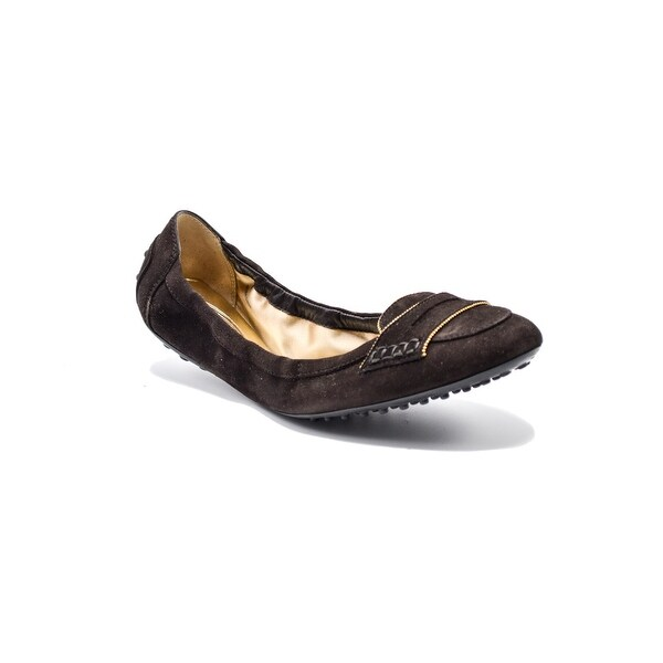 a3b3a1070a7a Shop Tod s Womens Brown Suede Ballerina Ballerina Dee Buckle Flats Size 41    11 - Free Shipping Today - Overstock - 14341713