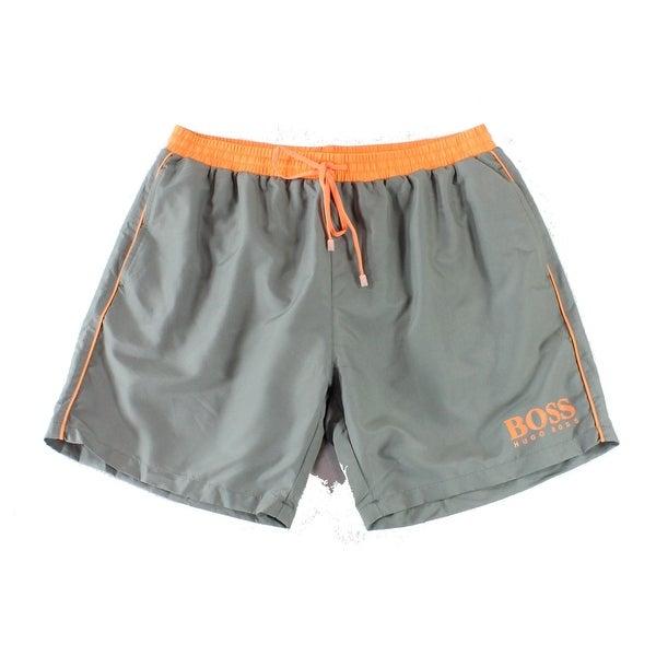 a7e66e937f Shop Hugo Boss Gray Orange Mens Size XL Board Shorts Drawstring Swimwear -  Free Shipping On Orders Over $45 - Overstock - 26911853