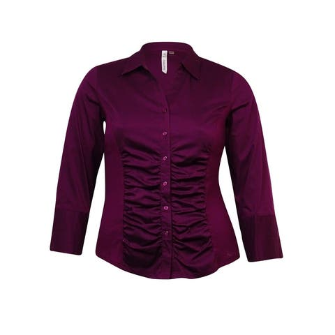NY Collection Women's Knit-Sides Cotton Blend Buttoned Shirt - Dark Purple