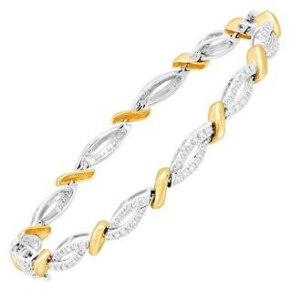 1/2 ct Diamond Tennis Bracelet in 14K White & Yellow Gold