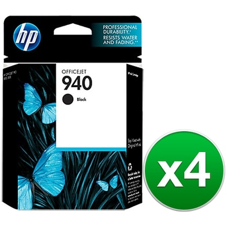 HP 940 Black Original Ink Cartridge (C4902AN) (4-Pack)