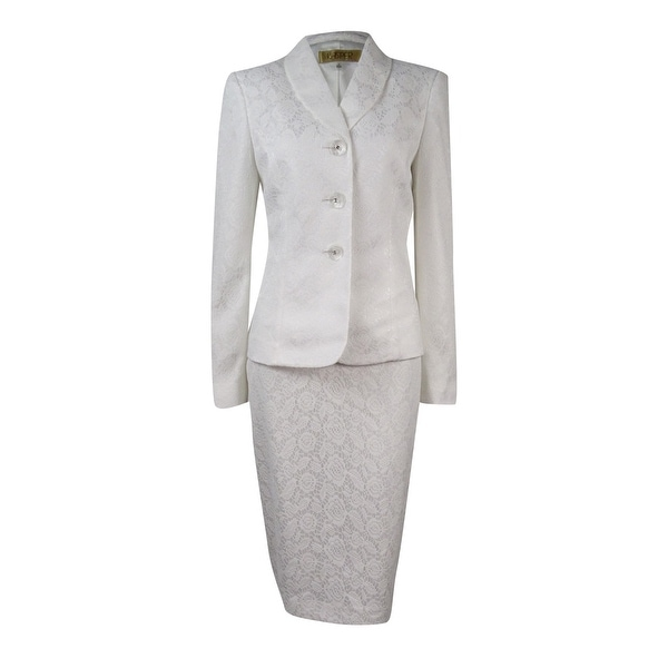 Kasper Women's Textured Shawl Collar Skirt Suit - Vanilla Ice