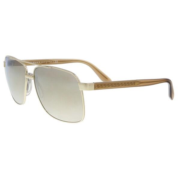 9aa518f6d0001 Shop Versace VE2174 12525A Pale Gold Rectangle Sunglasses - 59-13 ...