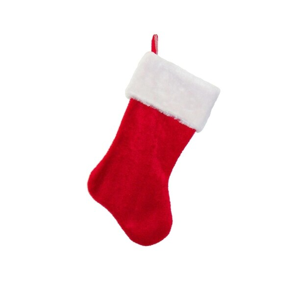 """17"""" Traditional Red with White Plush Trim Hanging Christmas Stocking"""
